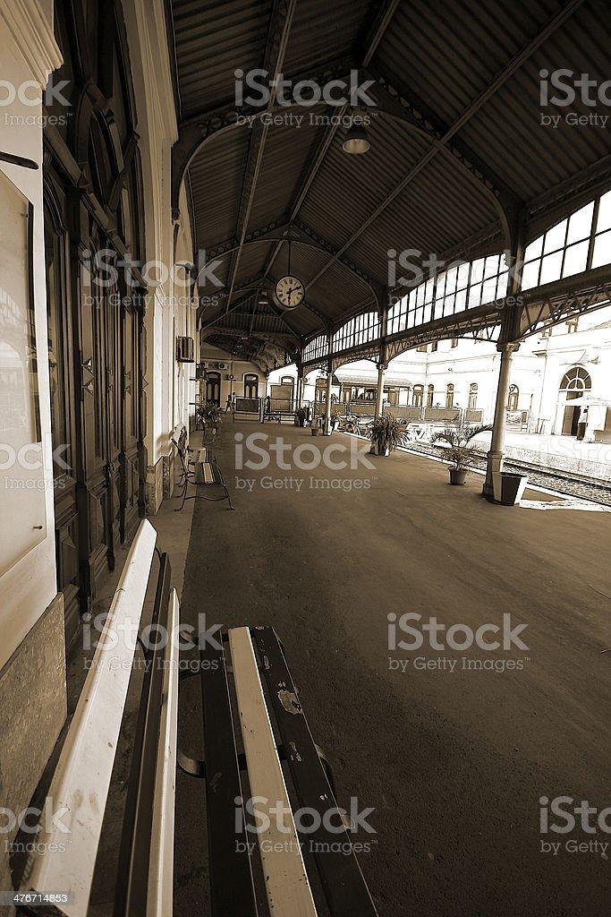 Bench at train station royalty-free stock photo