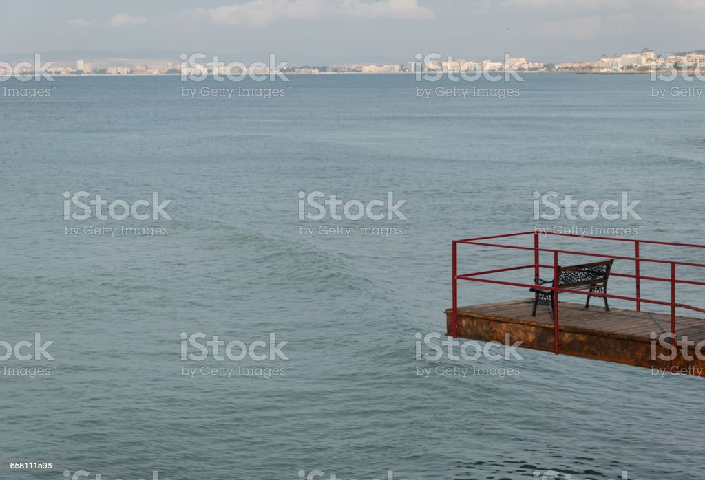 bench beautiful view on the sea landscape royalty-free stock photo