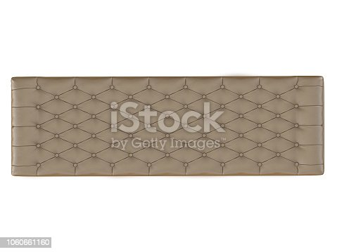 Bench beige capitone on a white background 3d rendering