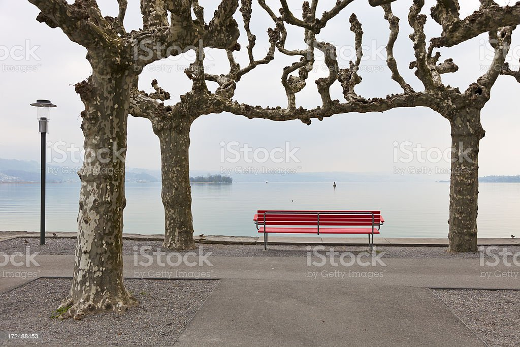 Bench by Lake Zurich stock photo