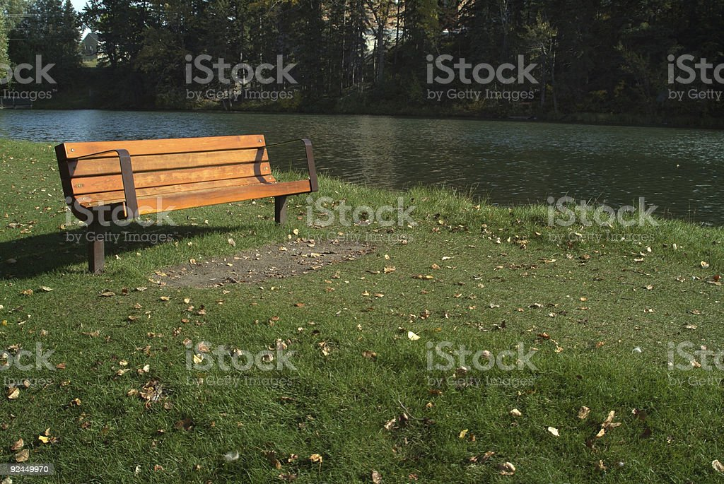 bench by river royalty-free stock photo