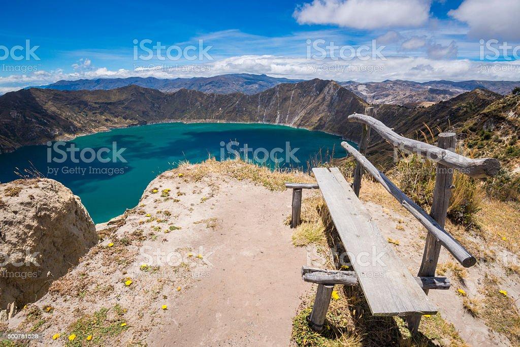 Bench front of Quilotoa crater lake, Ecuador stock photo