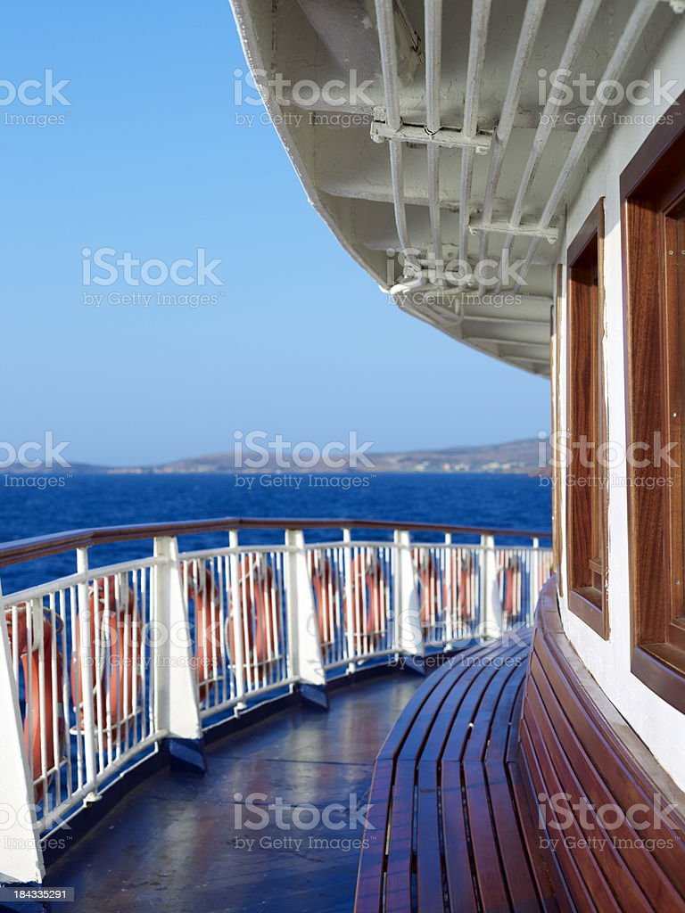 Bench in a ferry boat royalty-free stock photo