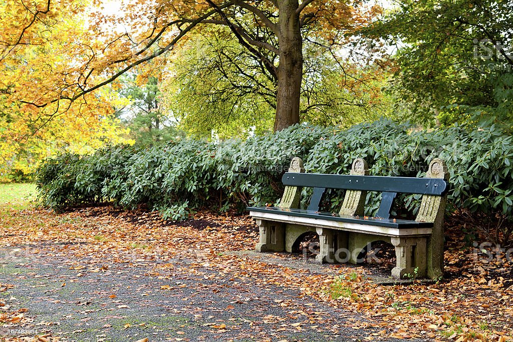 bench in autumn park royalty-free stock photo