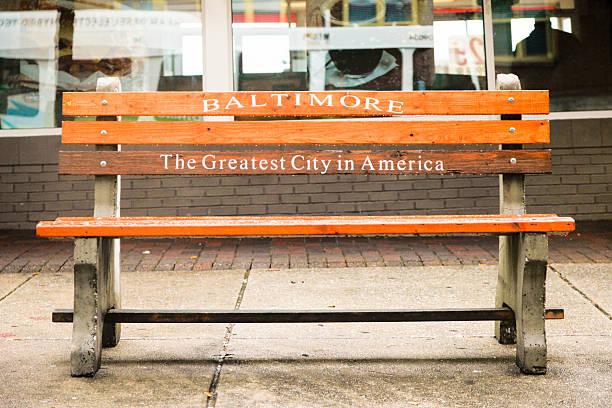 Bench in Baltimore, USA stock photo