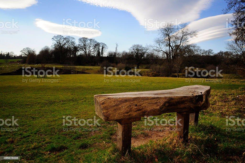 Bench in Erddig park stock photo