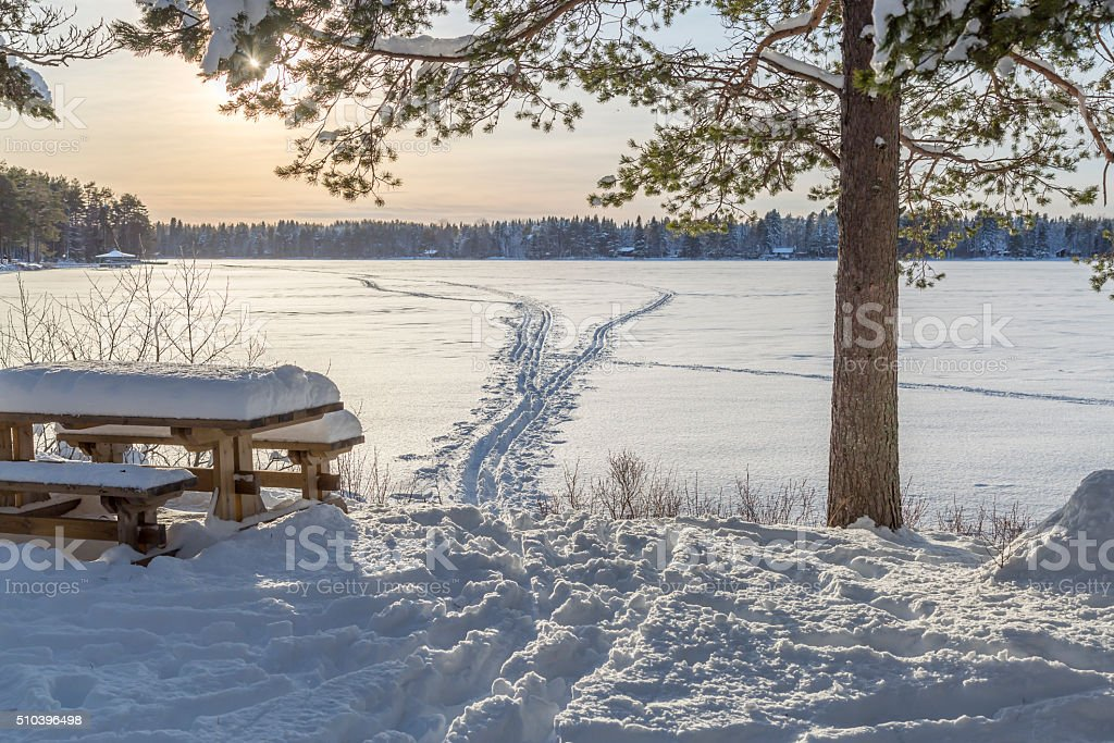 Bench in front of Frozen Lake with Ski Tracks stock photo