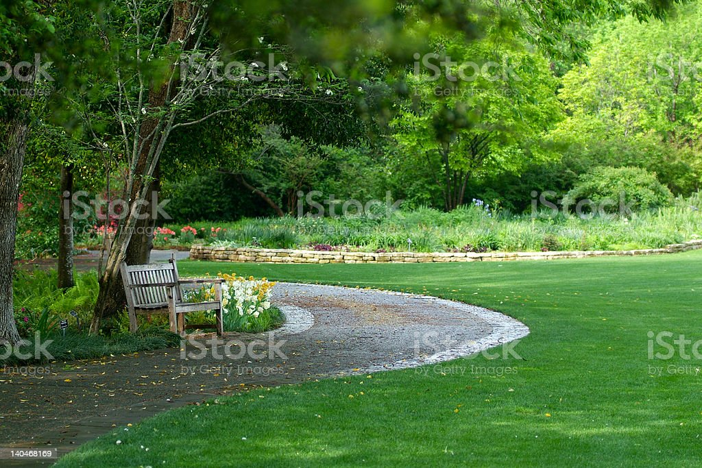bench in garden stock photo