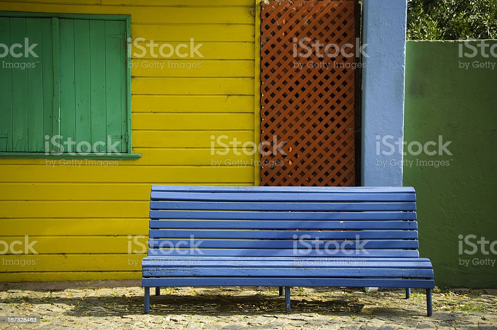 Bench in La Boca stock photo