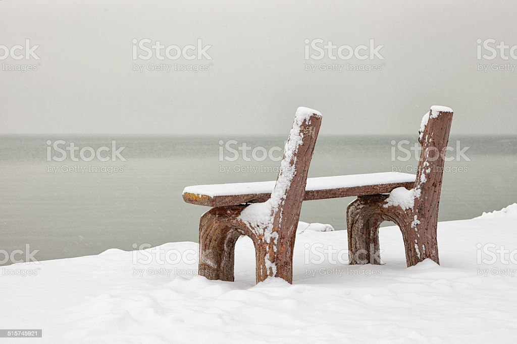 Bench in Lakeside stock photo