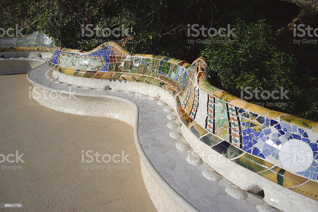 Bench in Parc Güell royalty-free stock photo