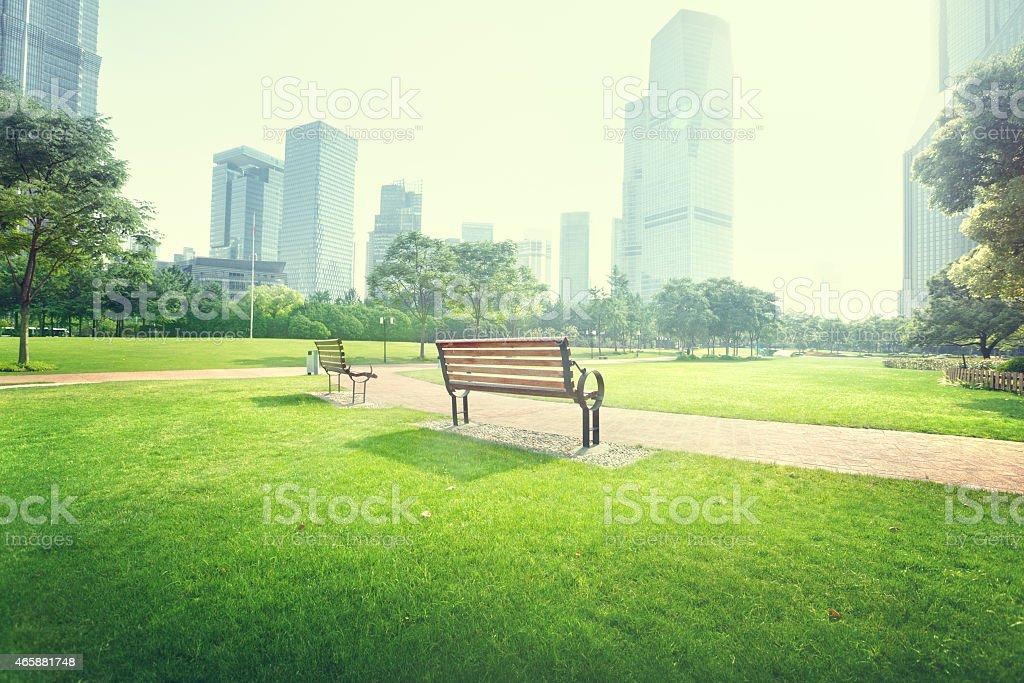 bench in park, Shanghai, China stock photo