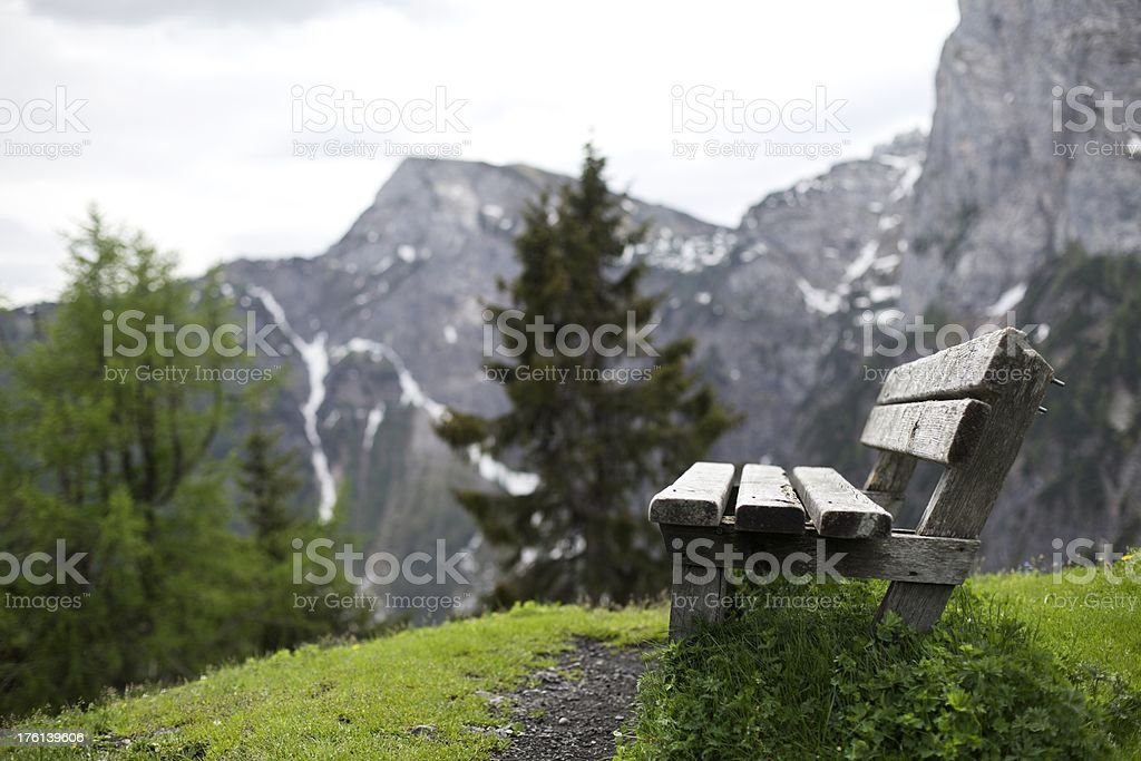 Bench in the Alps stock photo