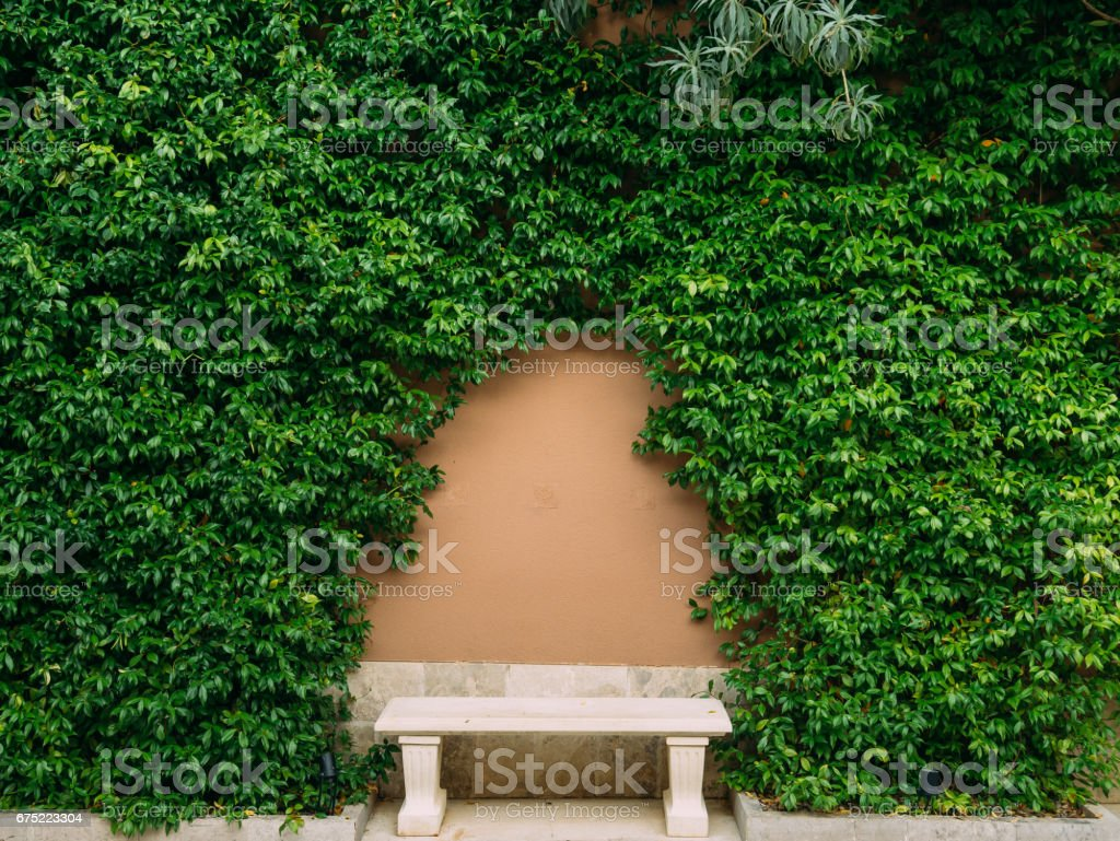 Bench in the park. Concrete bench with wooden royalty-free stock photo