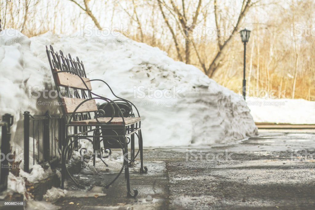 Bench in the park in the spring dull day stock photo