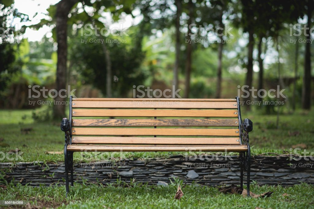 Bench in the park on green background stock photo