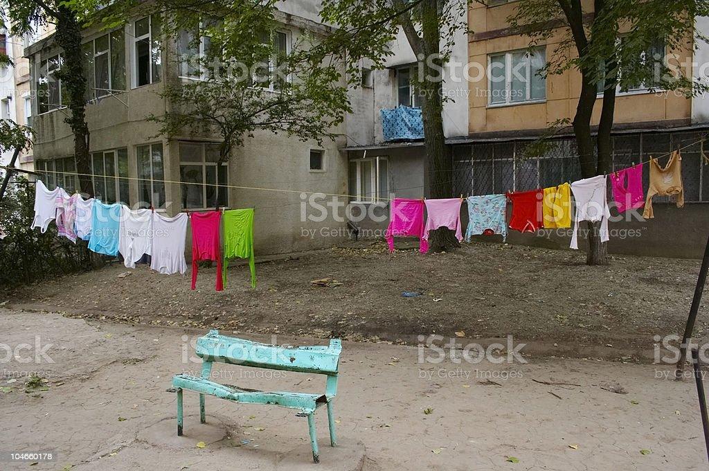 Bank in die rumänische ghetto – Foto