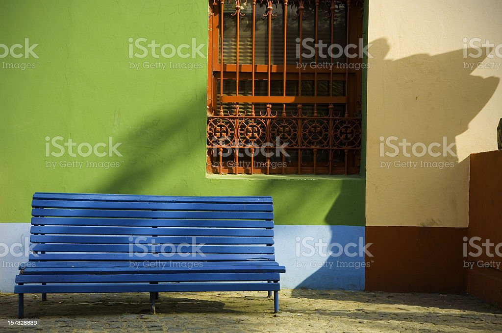 Bench in the street, Caminito, La Boca stock photo