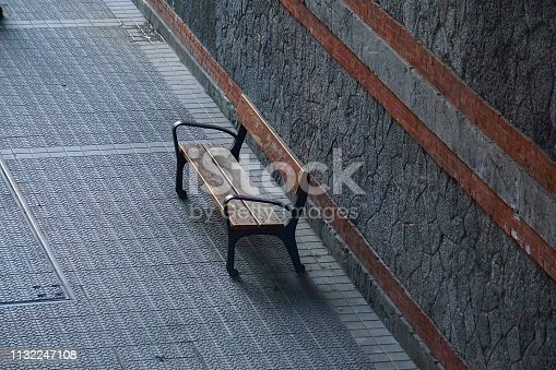 bench in the street. bilbao. spain.