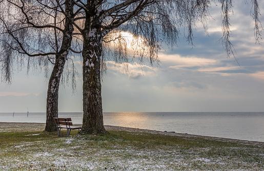 Bench. Lake. Water. Leman. Sunrise. Color. Sky