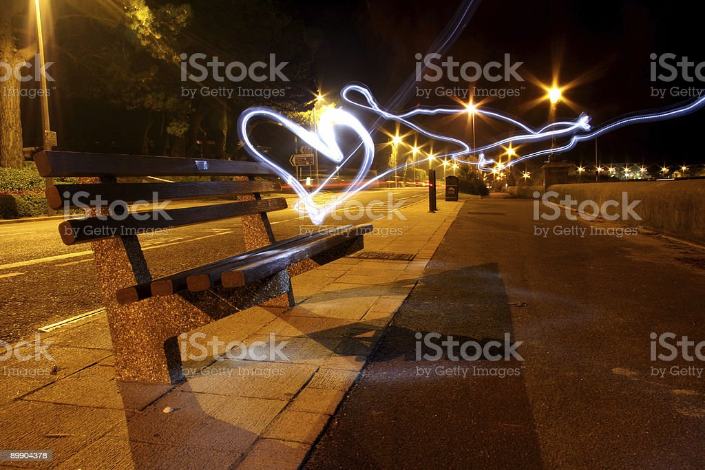 Bench light heart royalty-free stock photo