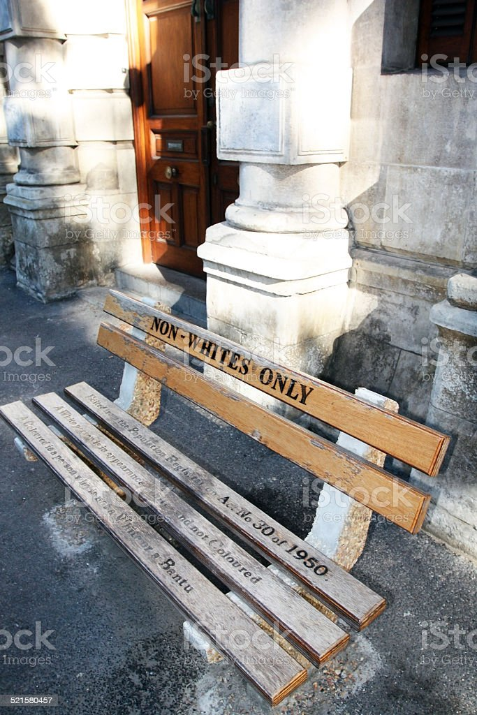 Bench 'NON-WHITES ONLY' in Cape town. stock photo