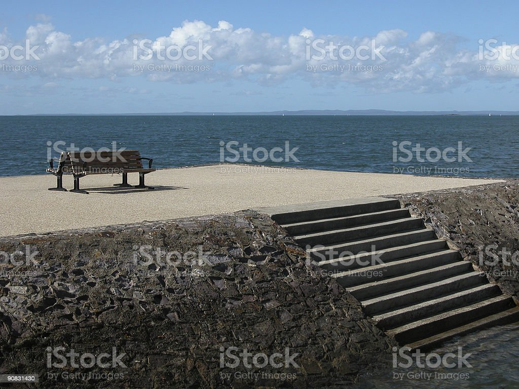 Bench on a Jetty stock photo