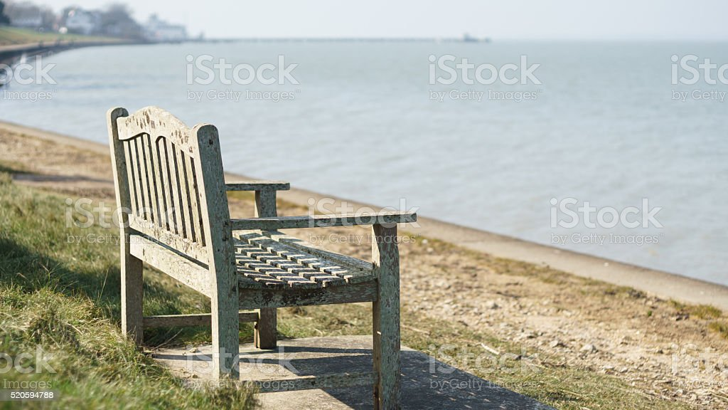 Bench on the sea stock photo