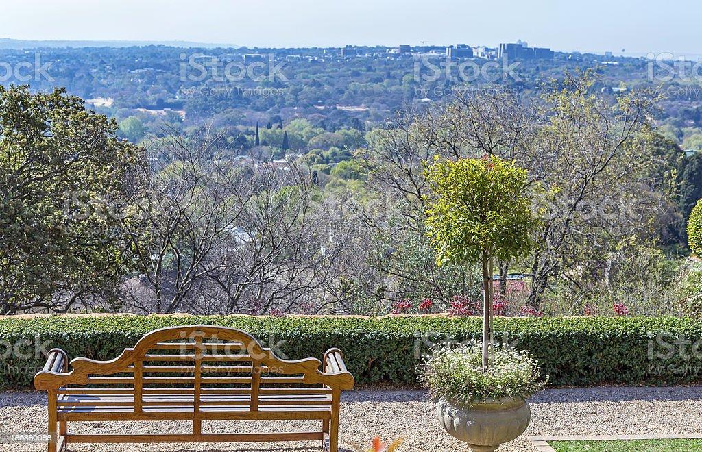 Bench overlooking Rosebank royalty-free stock photo