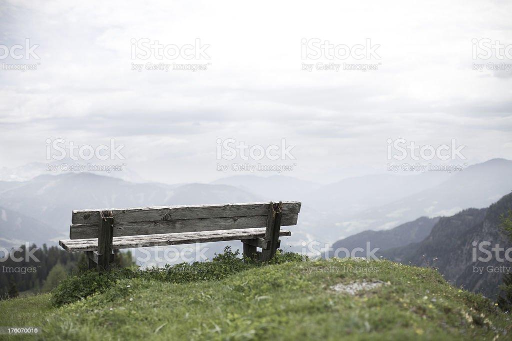 Bench overlooking Valley stock photo