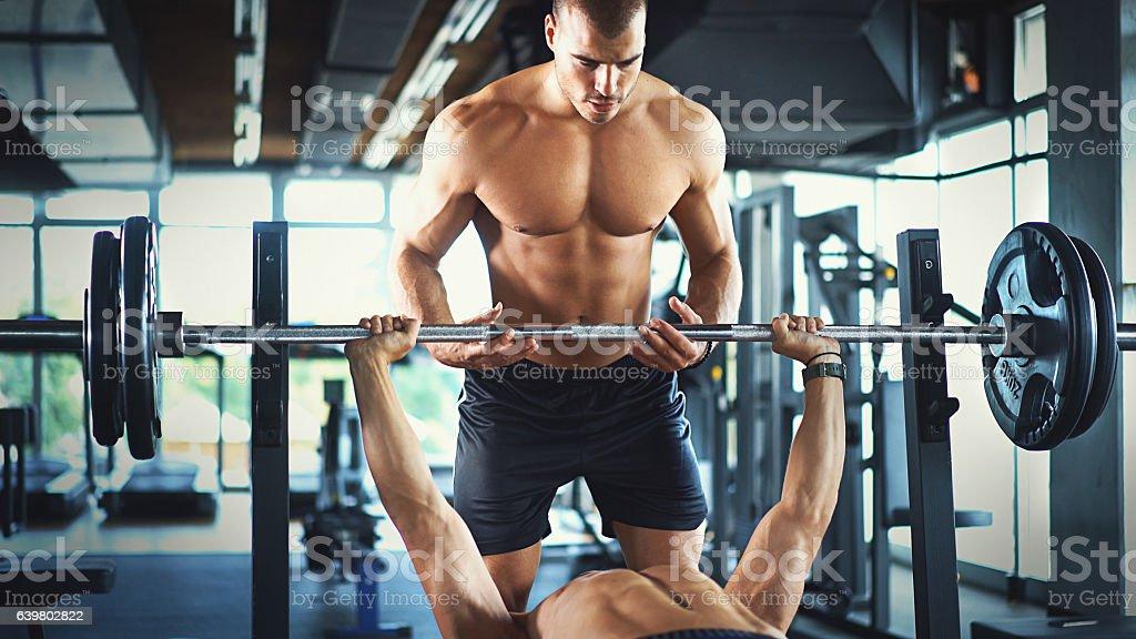 Bench press workout. stock photo