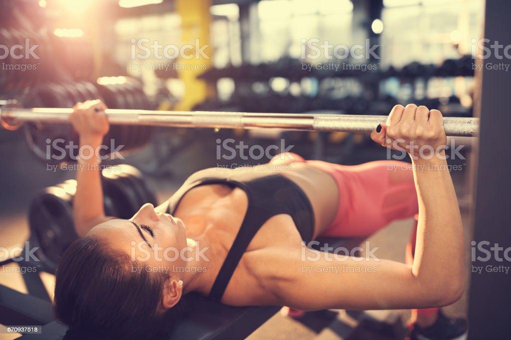 Bench press workout stock photo
