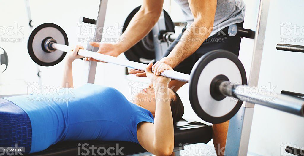 Bench pressing. stock photo