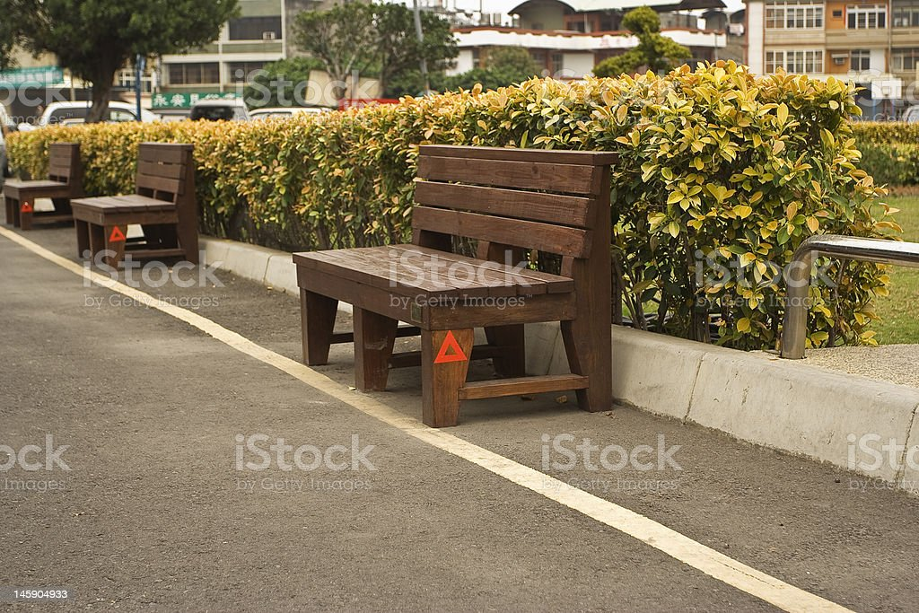 bench row in Taiwanese town square royalty-free stock photo