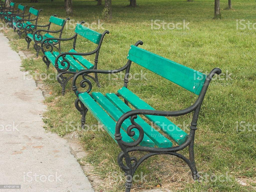 Bench row royalty-free stock photo