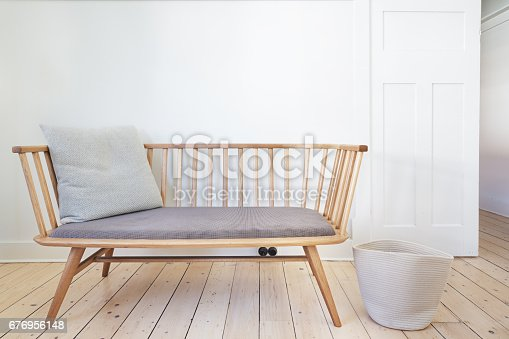 istock Bench seat feature chair in Danish styled interior 676956148
