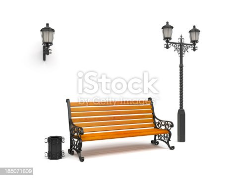 istock bench, street lamp,basket Isolated On White, perspective view 185071609