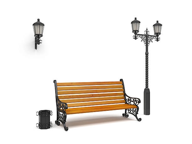 bench, street lamp,basket isolated on white, perspective view - zitbank stockfoto's en -beelden