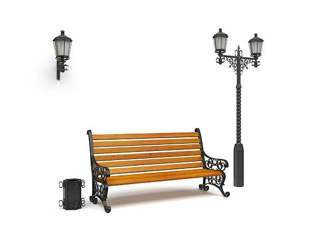 bench, street lamp,basket isolated on white, perspective view - bench bildbanksfoton och bilder