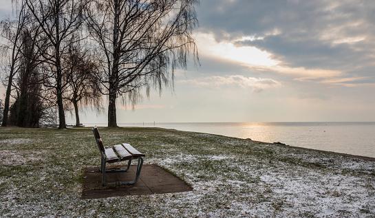Bench. Water. Leman. Sunrise. Lake. Color. Sky