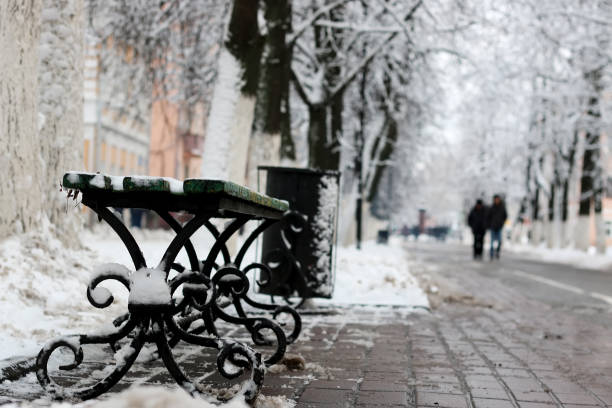 Banc hiver trottoir - Photo