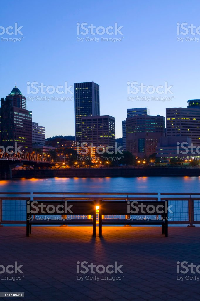 bench with a view of downtown portland, oregon royalty-free stock photo