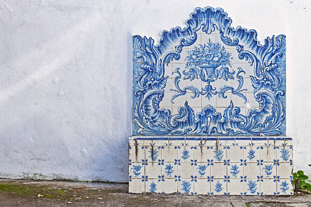 Bench with antique tile mosaic stock photo