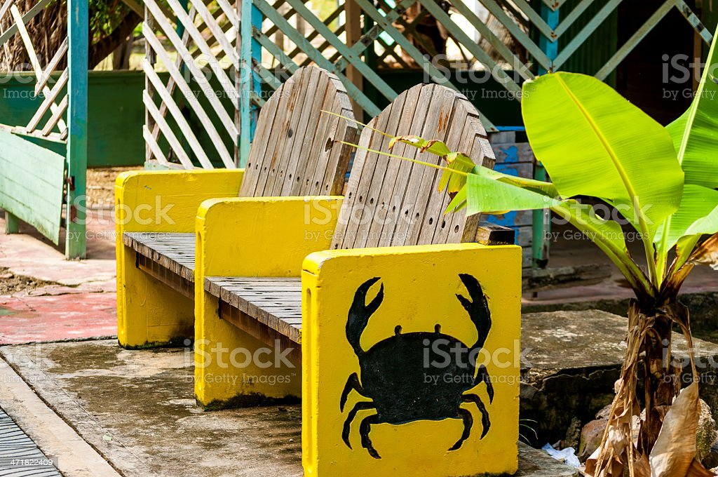Bench with Crab Design stock photo