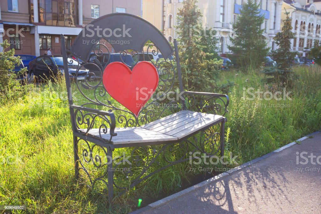 bench with heart stock photo