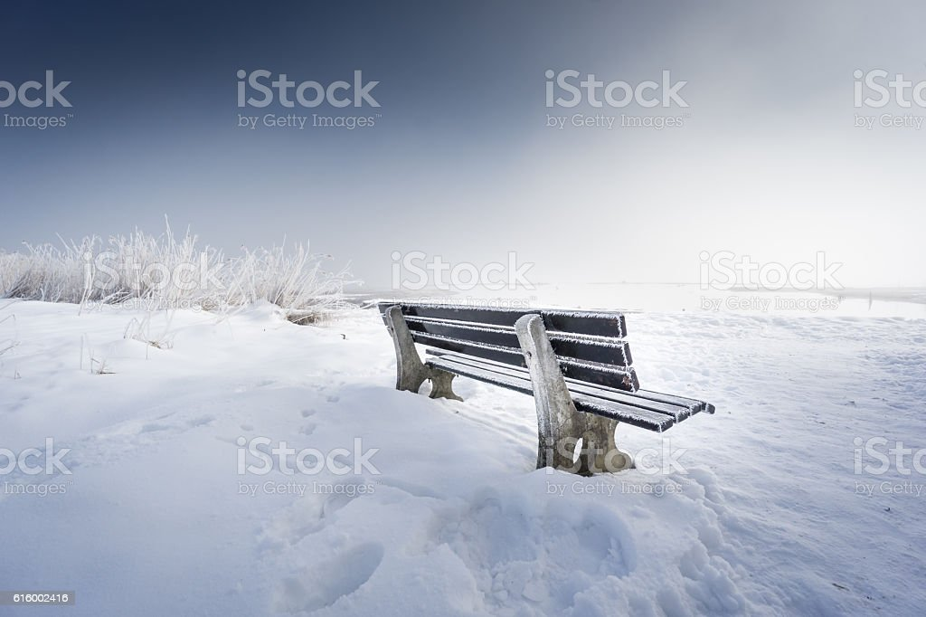 bench with ice, lake chiemsee stock photo