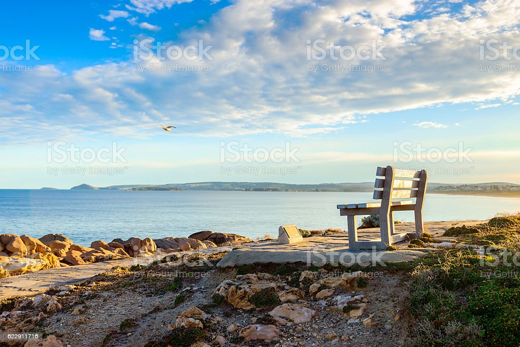 Bench with sea view at Port Elliot, South Australia stock photo