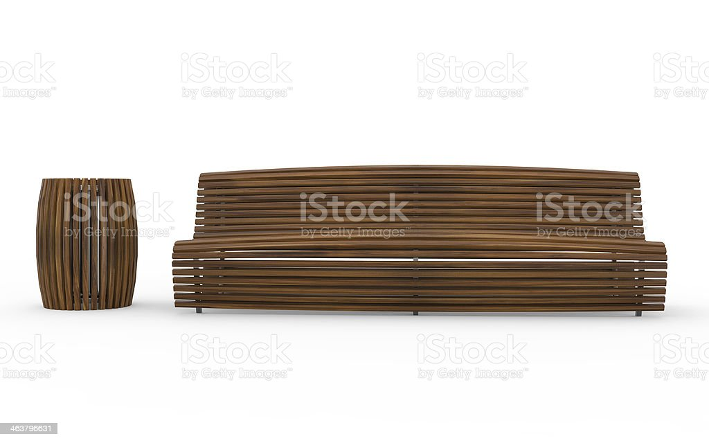 Bench with Trash Can stock photo
