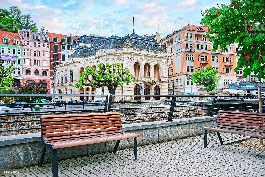 Benches at Promenade and Opera House in Karlovy Vary stock photo