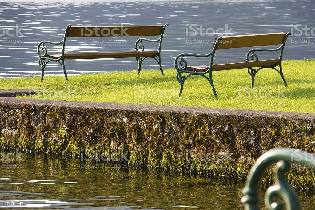 benches by the lake royalty-free stock photo